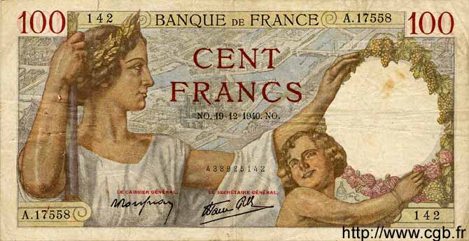 100 Francs SULLY FRANCE  1940 F.26.43 TB