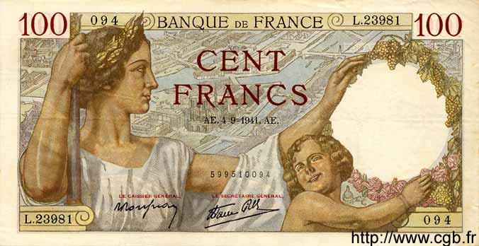 100 Francs SULLY FRANCE  1941 F.26.57 TTB à SUP