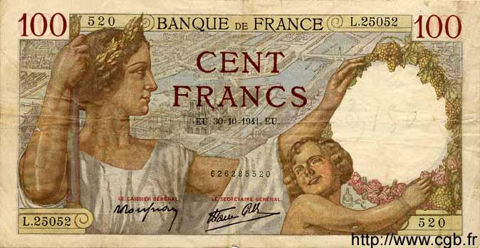 100 Francs SULLY FRANCE  1941 F.26.59 TB