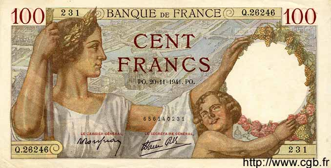 100 Francs SULLY FRANCE  1941 F.26.61 SUP+