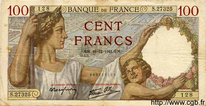 100 Francs SULLY FRANCE  1941 F.26.63 pr.TTB