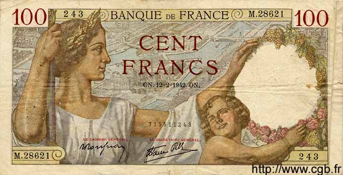 100 Francs SULLY FRANCE  1942 F.26.66 TB
