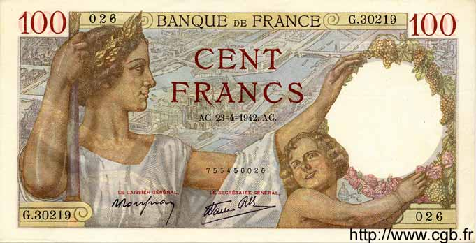 100 Francs SULLY FRANCE  1942 F.26.70 SUP