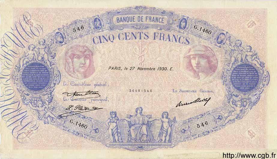 500 Francs BLEU ET ROSE FRANCE  1930 F.30.33 TTB