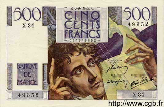 500 Francs CHATEAUBRIAND FRANCE  1945 F.34.02 SUP à SPL