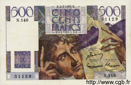 500 Francs CHATEAUBRIAND FRANCE  1953 F.34.12 SUP
