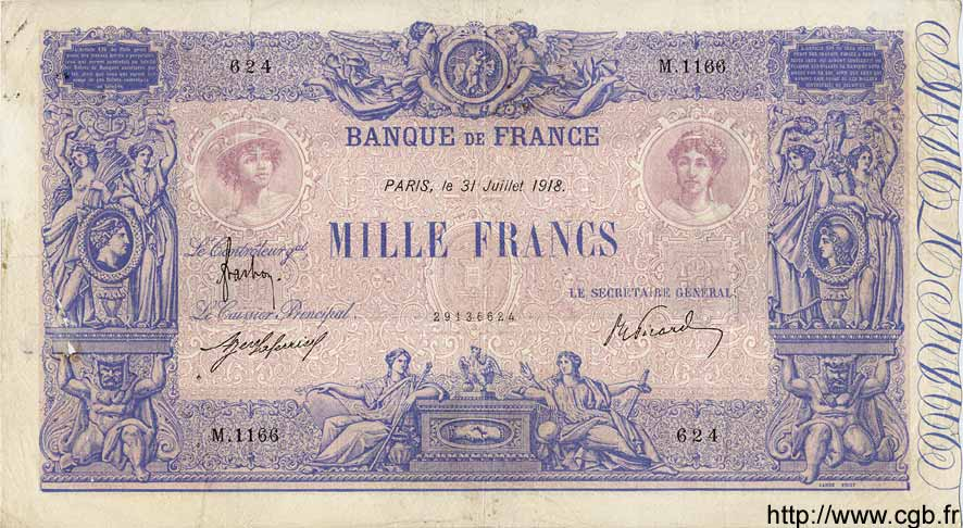 1000 Francs BLEU ET ROSE FRANCE  1918 F.36.32 pr.TTB