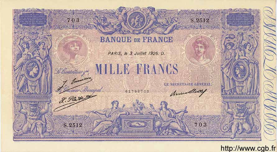 1000 Francs BLEU ET ROSE FRANCE  1926 F.36.43 SPL+