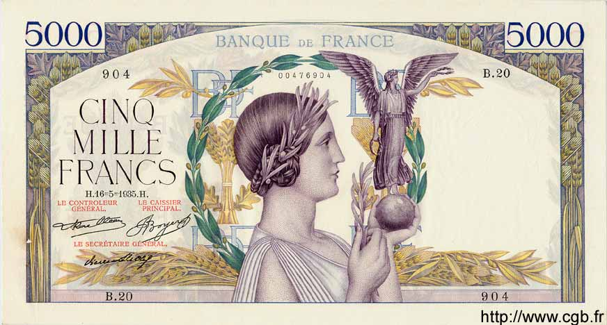 5000 Francs VICTOIRE Taille Douce FRANCE  1935 F.44.02 SUP+