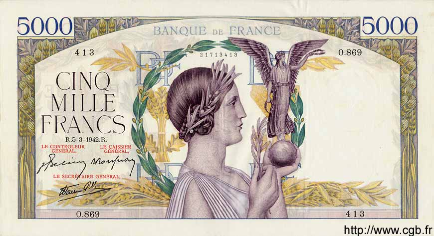 5000 Francs VICTOIRE Impression à plat FRANCE  1942 F.46.34 SUP