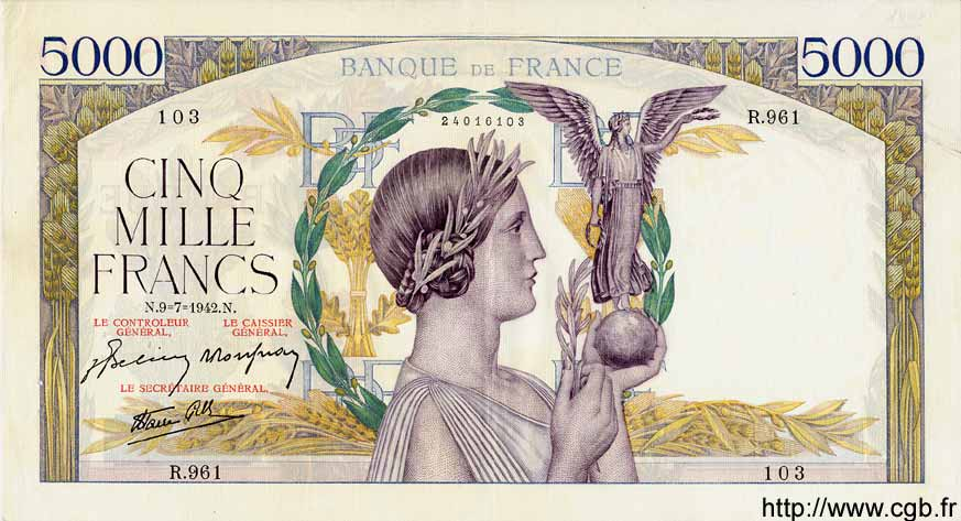 5000 Francs VICTOIRE Impression à plat FRANCE  1942 F.46.38 SUP