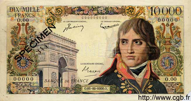 10000 Francs BONAPARTE FRANCE  1955 F.51.00s1 TTB+