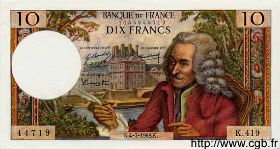 10 Francs VOLTAIRE FRANCE  1968 F.62.33 pr.NEUF