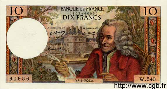 10 Francs VOLTAIRE FRANCE  1970 F.62.41 SUP+