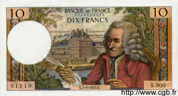 10 Francs VOLTAIRE FRANCE  1973 F.62.63 pr.NEUF