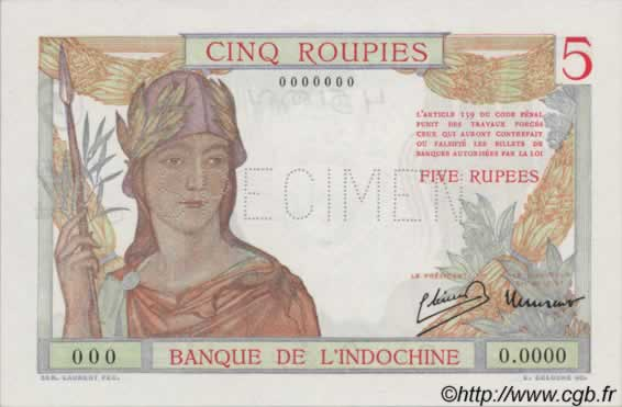 5 Roupies, type 1937 INDE FRANÇAISE  1945 P.05s NEUF