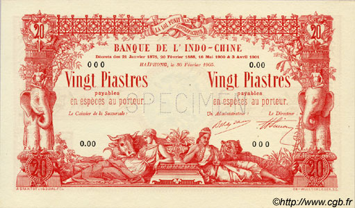 20 Piastres - 20 Piastres INDOCHINE FRANÇAISE Haïphong 1905 P.015s NEUF