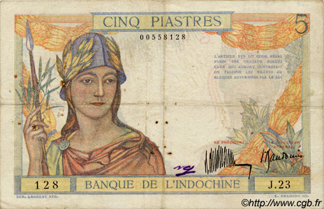 5 Piastres INDOCHINE FRANÇAISE  1932 P.053as TB+
