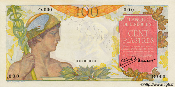 100 Piastres INDOCHINE FRANÇAISE  1947 P.082as SUP