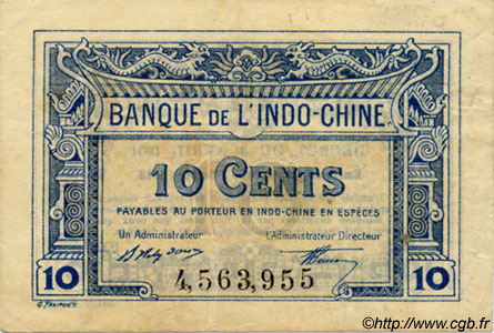 10 Cents INDOCHINE FRANÇAISE  1920 P.043 TTB