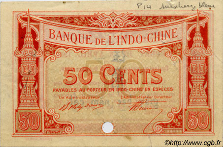 50 Cents INDOCHINE FRANÇAISE  1920 P.047as TTB+