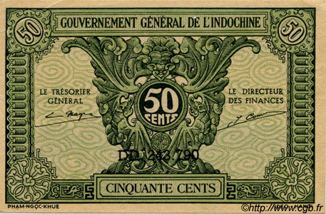 50 Cents INDOCHINE FRANÇAISE  1943 P.091 NEUF