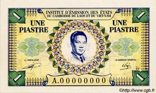 1 Piastre / 1 Dong INDOCHINE FRANÇAISE  1952 P.104s NEUF