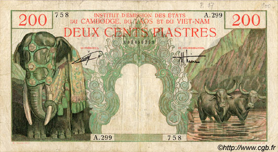 200 Piastres / 200 Dong INDOCHINE FRANÇAISE  1954 P.109 TB