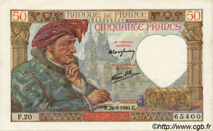 50 Francs JACQUES CŒUR FRANCE  1940 F.19.03 pr.NEUF