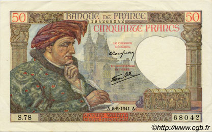 50 Francs JACQUES CŒUR FRANCE  1941 F.19.10 SUP à SPL