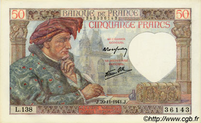 50 Francs JACQUES CŒUR FRANCE  1941 F.19.16 NEUF