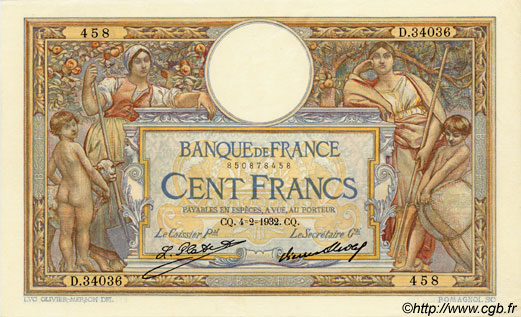 100 Francs LUC OLIVIER MERSON grands cartouches FRANCE  1932 F.24.11 pr.NEUF