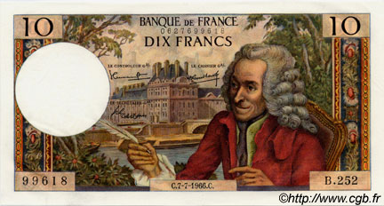 10 Francs VOLTAIRE FRANCE  1966 F.62.22 NEUF