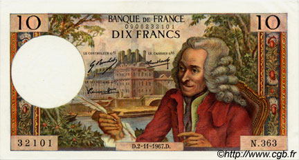 10 Francs VOLTAIRE FRANCE  1967 F.62.29 pr.NEUF