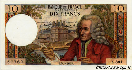 10 Francs VOLTAIRE FRANCE  1968 F.62.31 NEUF