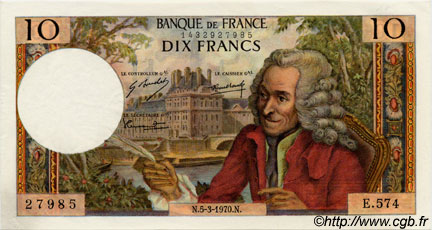 10 Francs VOLTAIRE FRANCE  1970 F.62.43 pr.NEUF