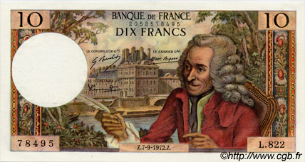 10 Francs VOLTAIRE FRANCE  1972 F.62.58 NEUF