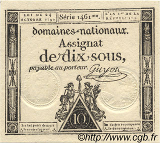 10 Sous FRANCE  1792 Laf.159 NEUF