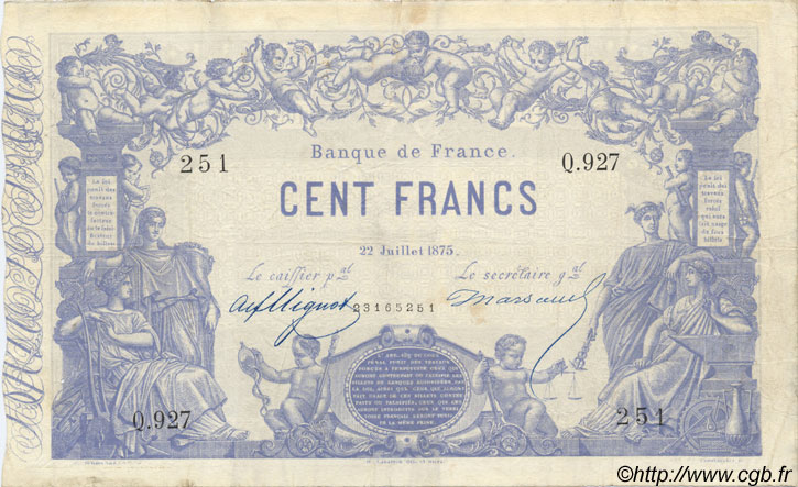 100 Francs 1862, indices noirs FRANCE  1875 F.A39.11 TTB