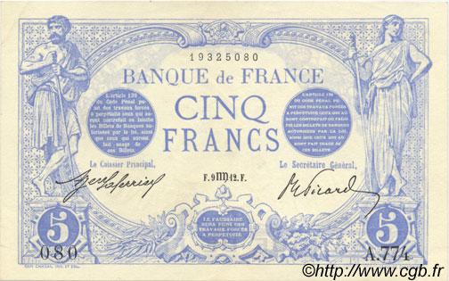 5 Francs BLEU FRANCE  1912 F.02.08 SPL+
