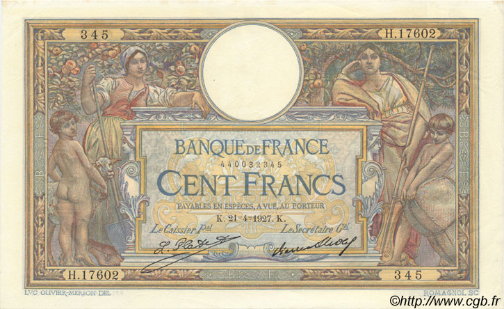 100 Francs LUC OLIVIER MERSON grands cartouches FRANCE  1927 F.24.06 SUP