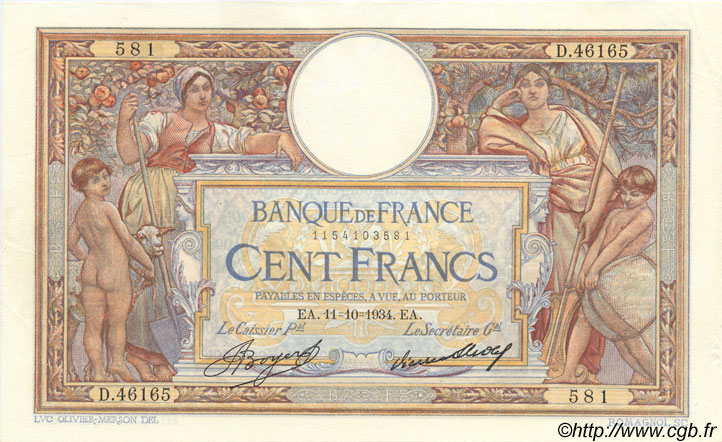 100 Francs LUC OLIVIER MERSON grands cartouches FRANCE  1934 F.24.13 SUP+