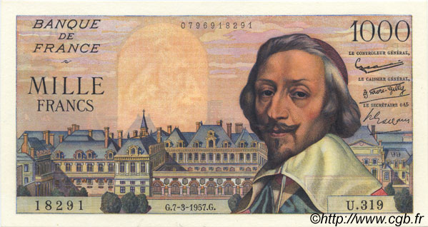 1000 Francs RICHELIEU FRANCE  1957 F.42.25 pr.SPL