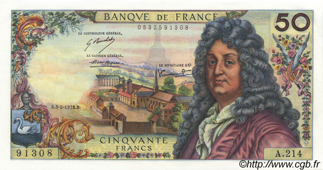 50 Francs RACINE FRANCE  1973 F.64.23 SUP+ à SPL
