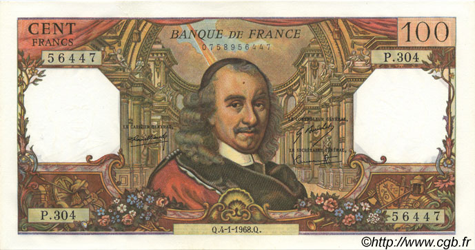 100 Francs CORNEILLE FRANCE  1968 F.65.20 SUP+ à SPL