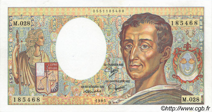 200 Francs MONTESQUIEU FRANCE  1985 F.70.05 SPL