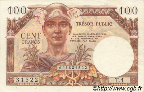 100 Francs TRÉSOR PUBLIC FRANCE  1955 VF.34.01 SUP+
