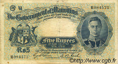 5 Rupees ÎLE MAURICE  1937 P.22 TB+