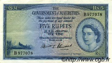 5 Rupees ÎLE MAURICE  1954 P.27 SUP