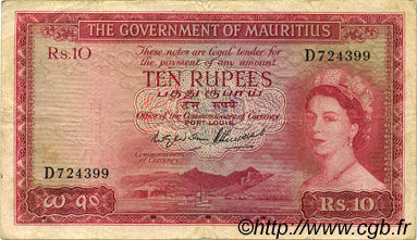 10 Rupees ÎLE MAURICE  1954 P.28 TB+